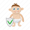 baby, cartoon, child, insurance, kid, parent, safety icon