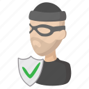 bandit, burglar, cartoon, insurance, security, theft, thief icon