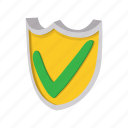 cartoon, green, insurance, protection, security, shield, tick icon
