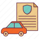 car insurance, car sheild, insurance, insurance note, security, vehicle insurance icon
