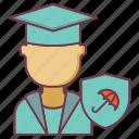education insurance, insurance, scholar protection, student insurance, umbrella protection icon