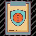cardboard, clipboard, finance insurance, insurance, money insurance, policy icon