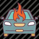car fire, car insurance, car sheild, insurance, safety, vehicle insurance icon