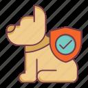 dog insurance, dog safety, dog security, insurance, pet insurance, shield icon