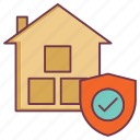 building insurance, home sheild, house protection, insurance, raw material insurance, safeguard icon