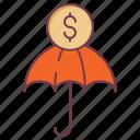 credit insurance, finance insurance, insurance, insurance coverage, umbrella, umbrella liability policy icon