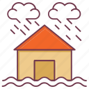 building insurance, climate, house insurance, insurance, raining, thundering, weather icon