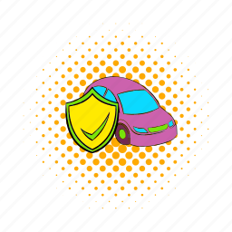 car, comics, fire, insurance, protection, safety, shield icon