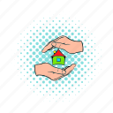 comics, hand, home, house, insurance, sale, small icon