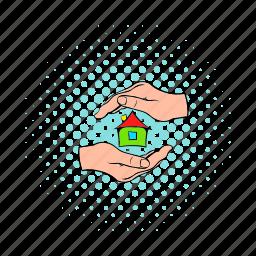 comics, hand, home, house, insurance, sale, small icon
