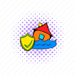 comics, disaster, flood, home, house, insurance, water icon