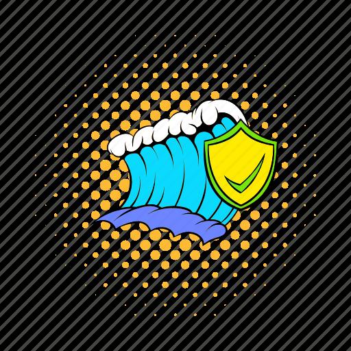comics, danger, disaster, flood, insurance, tsunami, wave icon