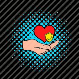 care, comics, hand, health, heart, heartbeat, medicine icon