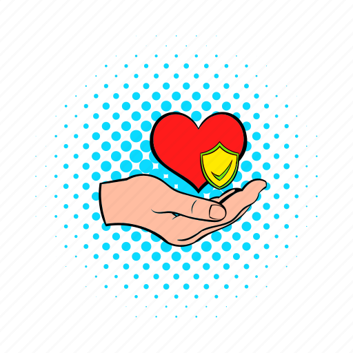 care, comics, hand, health, heart, heartbeat, medicine icon