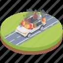 car blast, car burning, car damage, car flame, car on fire icon