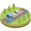 car breakdown, car lifter, car pickup, car recovery, road assistance, road service, tow truck icon