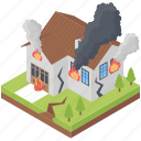 building fire, building on fire, burn house, fire disaster, home fire, house on fire icon