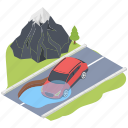 car accident, car flooding, car insurance, deluge car, flood risk icon