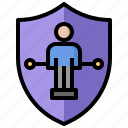 coverage, insurance, life, man, protection, shield, stick icon
