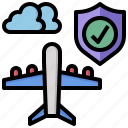 baggage, insurance, luggage, shield, travel, travelling, umbrella icon