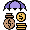 business, finance, insurance, money, protection, umbrella icon