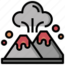 danger, ecology, environment, erupting, eruption, volcano icon