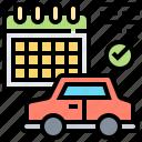 calendar, car, checking, plan, schedule icon