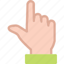 arrow, finger, hand, interaction, touchup, upload icon