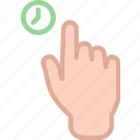 touch, hold, hand, time icon