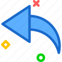 arrow, curve, left icon