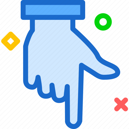 arrow, direction, finger, hand, interaction, touchdown icon