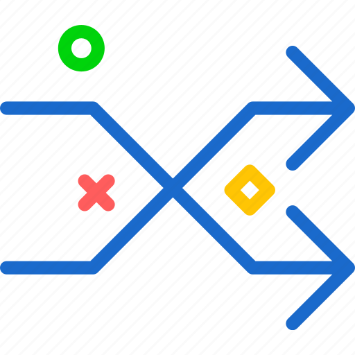 arrows, intersect, intersection icon