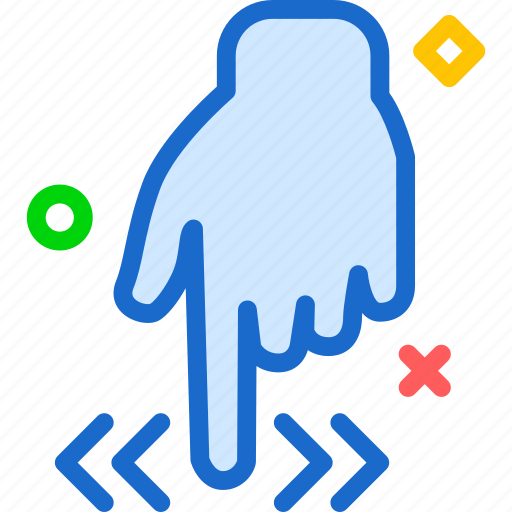 arrow, direction, down, gesture, hand, repeat, side icon