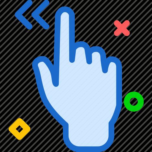 arrow, gesture, hand, left, repeat icon