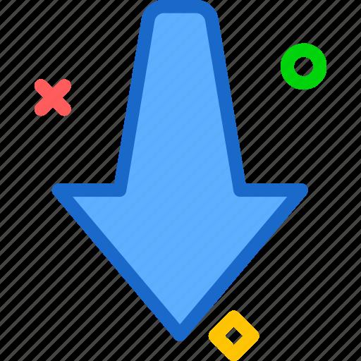 arrow, direction, down, way icon