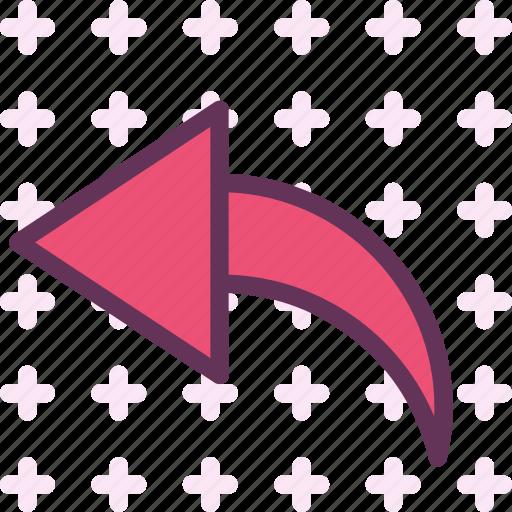 arrow, curve, left icon
