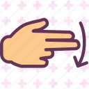 arrow, direction, finger, hand, interaction, touchsdown icon