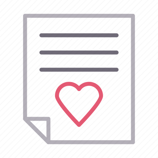 document, favorite, file, heart, sheet icon