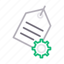 gear, label, preference, setting, tag icon