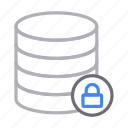 database, lock, private, server, storage icon