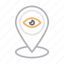 eye, location, map, pin, view icon