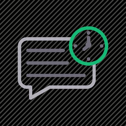 bubble, clock, comment, message, time icon