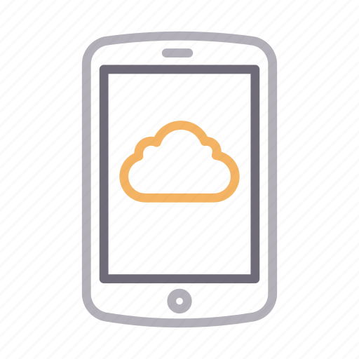 cell, cloud, mobile, phone, storage icon