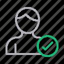 account, avatar, profile, user, verified icon