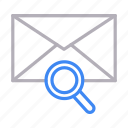 email, inbox, magnifier, message, search icon
