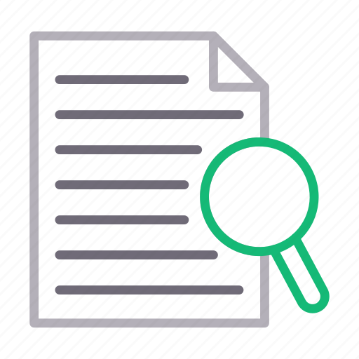 document, file, magnifier, search, sheet icon