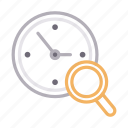 clock, glass, magnifier, search, time icon