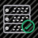 check, database, hosting, server, storage icon