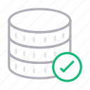 database, hosting, server, storage, tested icon