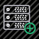add, database, hosting, server, storage icon